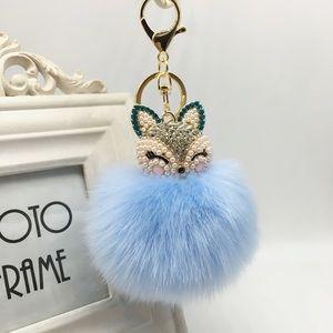 Accessories - Crystal & Pearl Fox Fluffy Blue Pom Pom Keychain